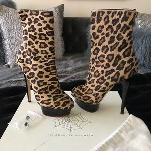 Charlotte Olympia Leopard Pony Hair Pltfrm Booties